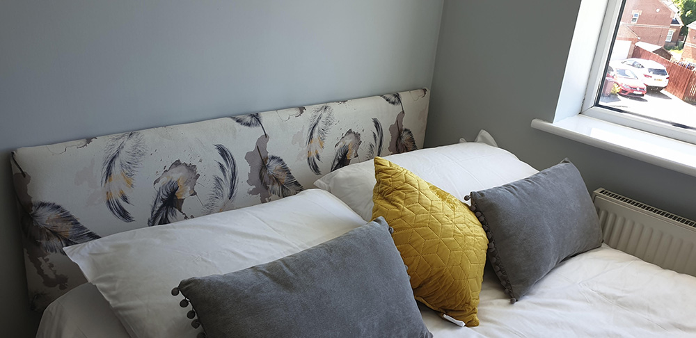 Carla Upholstered A Headboard Using Yorkshire Fabric Shops Saleem40 Velvet Material