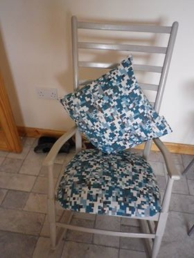 Chair Upholstered In Nome Blue Patch CTR-598 Fabric
