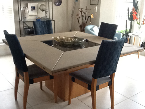Anni Peake Dining Room Table & Chairs Covered In Slav60 Leather Fabric