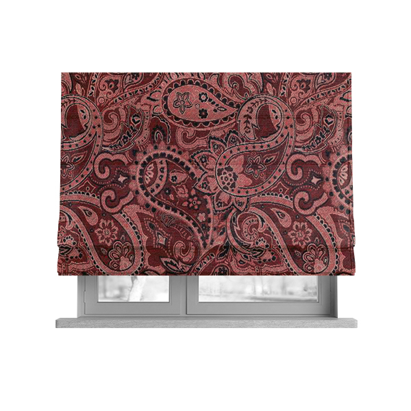 Bruges Life Paisley Pattern Red Chenille Upholstery Curtain Fabric CTR-663
