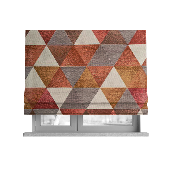Le Triangle Collection Soft Feel Geometric Diamond Pattern Orange Yellow Red White Colour Chenille Upholstery Fabric JO-238