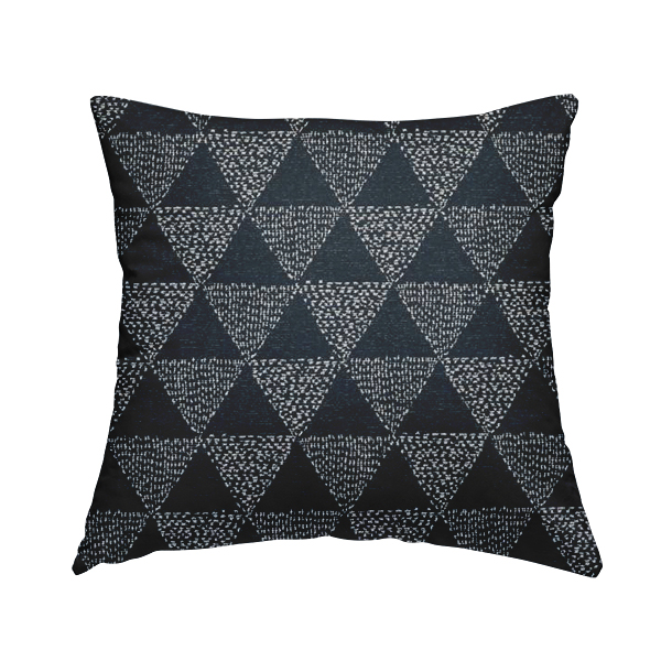 Piccadilly Collection Geometric Triangle Pattern Woven Upholstery Navy Blue Chenille Fabric JO-538