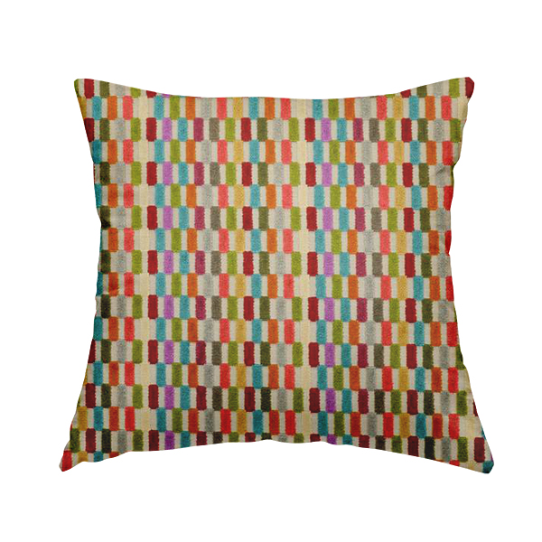 Amazilia Velvet Collection Multi Coloured Geometric Block Pattern Soft Velvet Upholstery Fabric JO-683