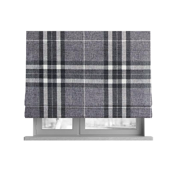 Louise Scottish Inspired Tartan Design Chenille Upholstery Fabric Light Grey Colour
