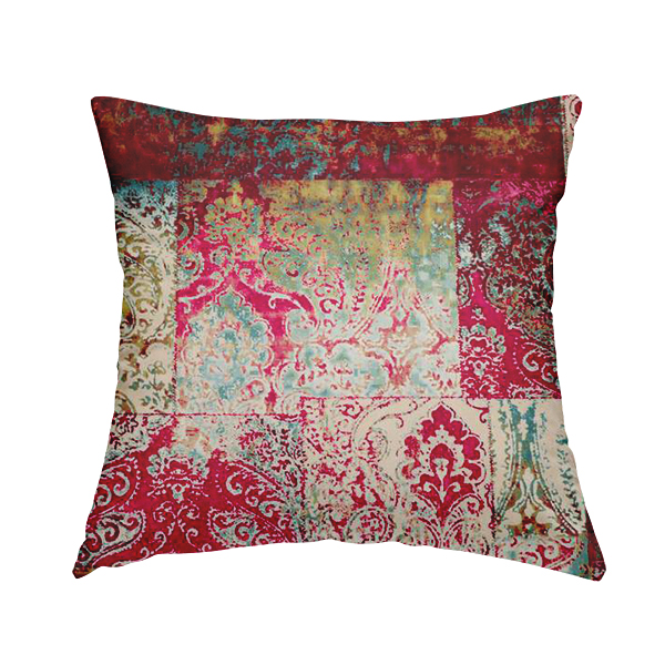 Amalfi Patchwork Pattern Printed Velvet Pink Burgundy Red Colour Upholstery Fabric