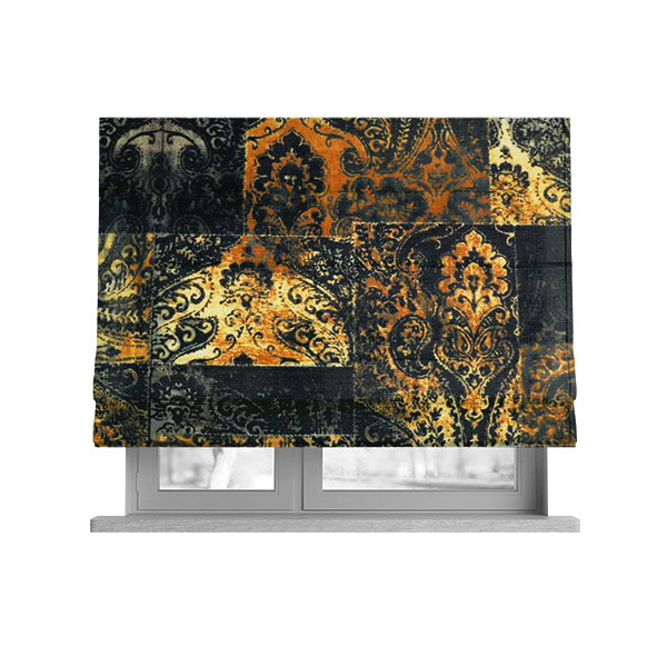 Amalfi Patchwork Pattern Printed Velvet Black Golden Yellow Colours Upholstery Fabric