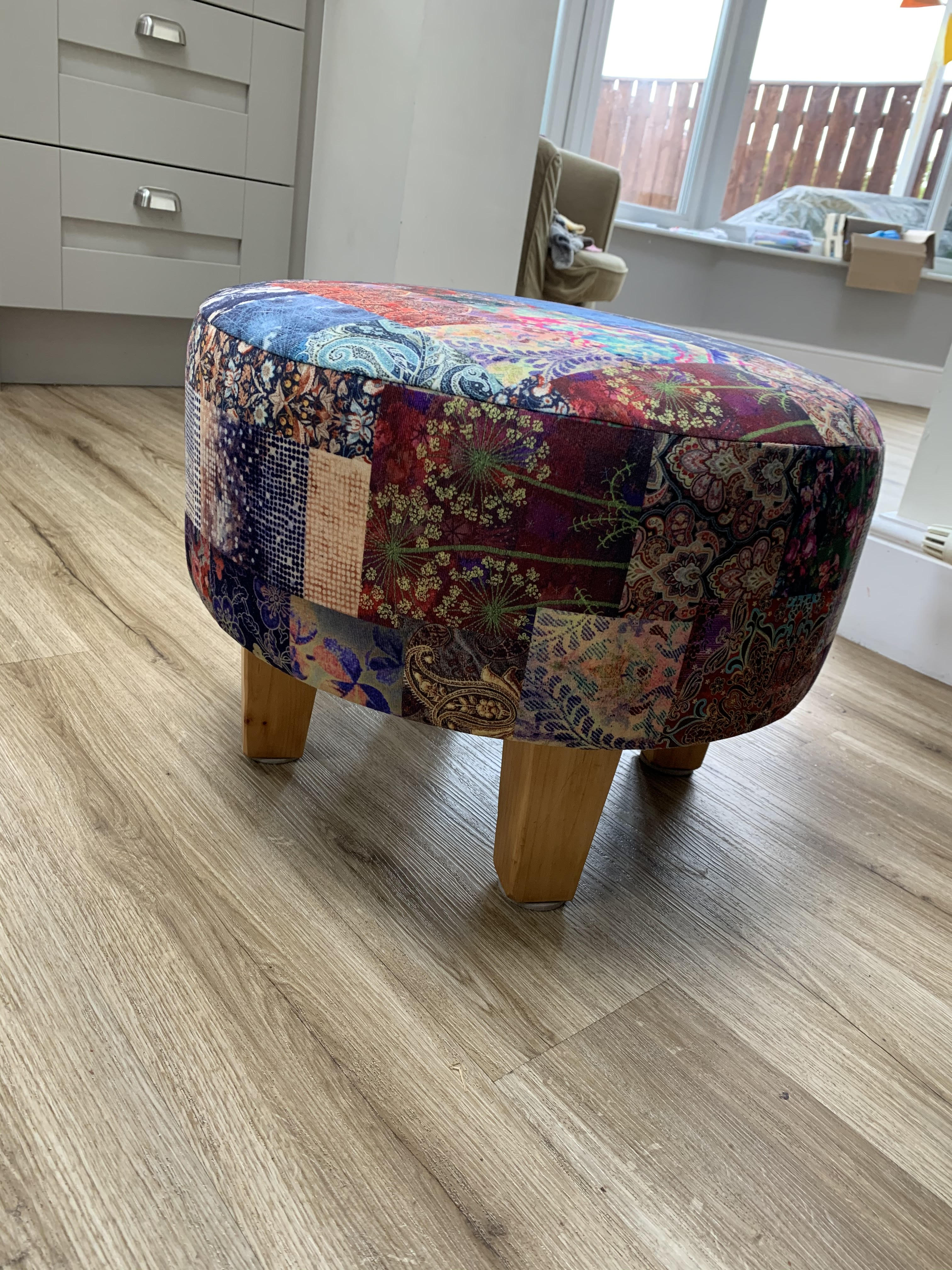 Donna Louise Footstool Upholstered In Yorkshire Fabric Shops CTR-66 Freedom Patchwork Velvet Material