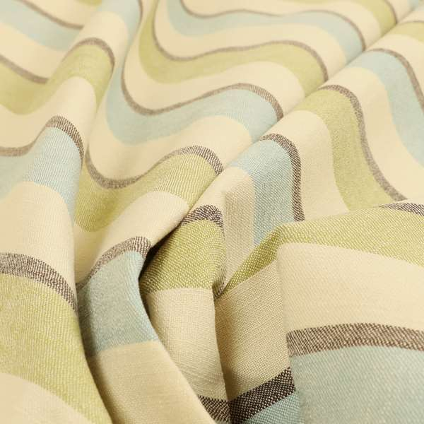 Falkirk Scottish Inspired Striped Pattern In Chenille Material Upholstery Fabric Blue Green Colour