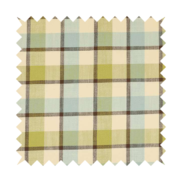 Falkirk Scottish Inspired Tartan Pattern In Chenille Material Upholstery Fabric Blue Green Colour