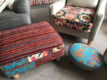 Colourful Footstool Using Freedom CTR-457 Patchwork With Lombok CTR-369