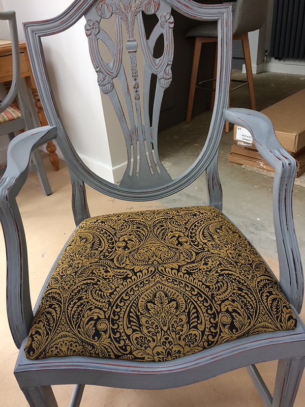 Frances Dining Chairs In Zenith Black Gold Damask CTR-189 Fabric