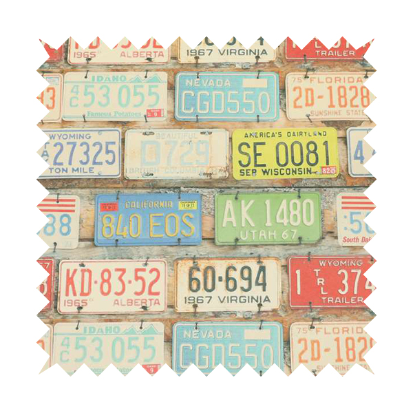 Freeway US Car License Number Plate Inspired Pattern Blue Colour Printed Chenille Upholstery Fabric