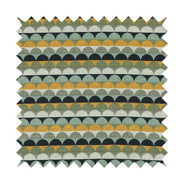 Blue Green Orange White Colour Rounded Horizontal Pattern Chenille Upholstery Fabric JO-1214