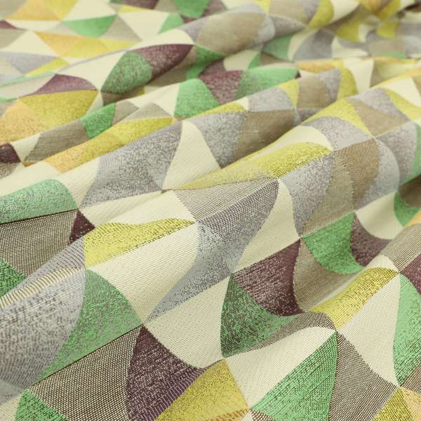 Le Triangle Collection Soft Feel Geometric Diamond Pattern Green Limes Chenille Upholstery Fabric JO-176