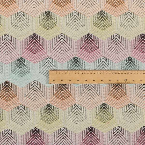 Carnival Living Fabric Collection Multi Colour Faded Hexagon Shape Pattern Upholstery Curtains Fabric JO-193