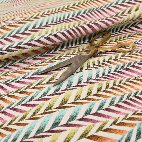 Carnival Living Fabric Collection Multi Colour Wave Striped Funky Retro Pattern Upholstery Curtains Fabric JO-196