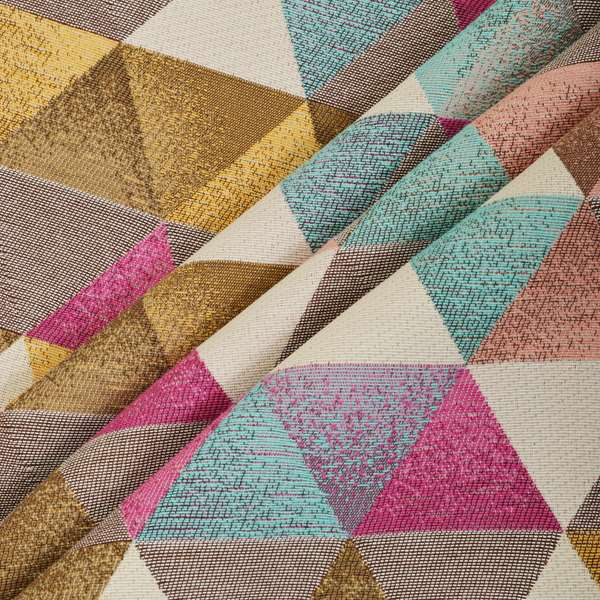 Le Triangle Collection Soft Feel Geometric Diamond Pattern Teal Pink White Colour Chenille Upholstery Fabric JO-237