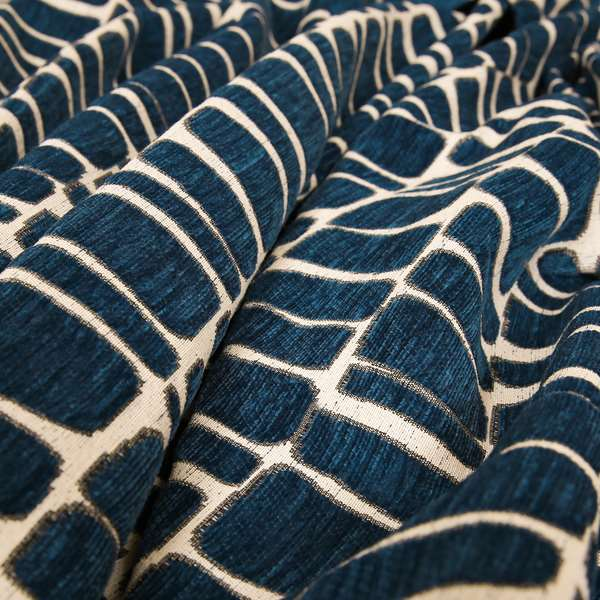 Blue Cream Stones Pattern In Soft Chenille Upholstery Fabric JO-32
