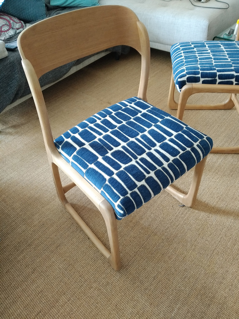 Claire Upholstered Classic chairs Using JO-32 Fabric !