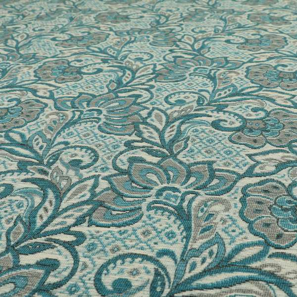 Otega Jacquard Quality Soft Floral Pattern Blue Grey Colour Designer Fabric JO-342
