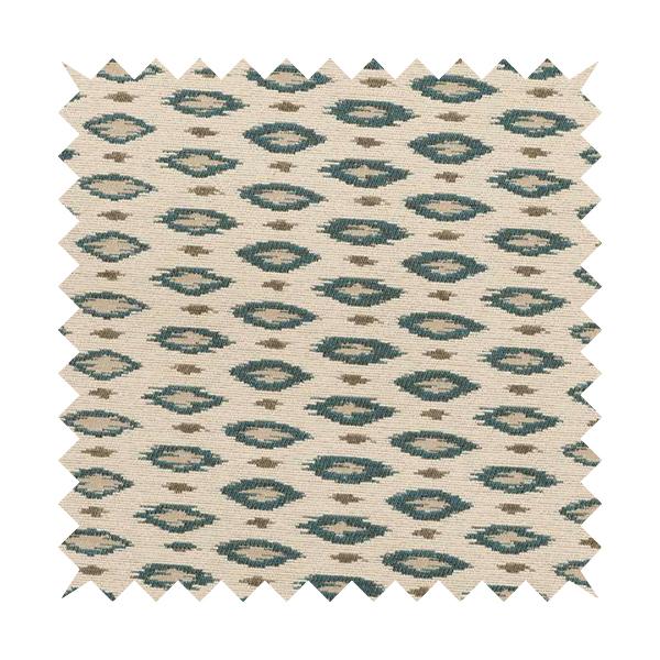 Ella Ikat Small Motif Design Blue Colour Woven Jacquard Upholstery Fabrics JO-358