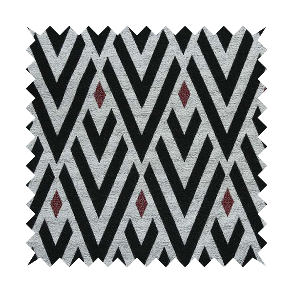 Danton Striking Large Diamond Pattern White Black Red Colour Soft Woven Chenille Furnishing Fabric JO-42