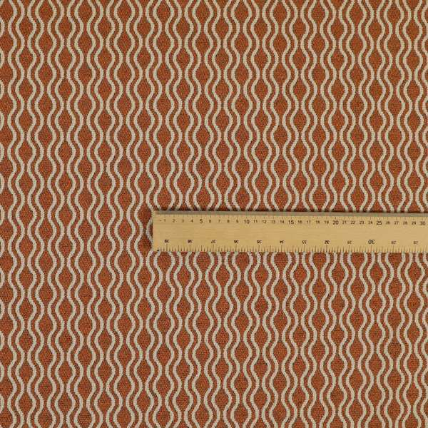 Piccadilly Collection Eclipse Pattern Woven Upholstery Orange Chenille Fabric JO-512
