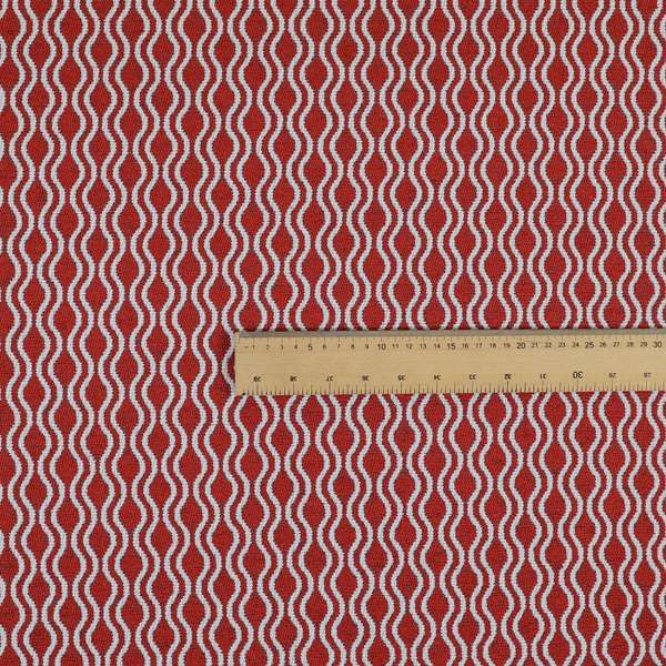 Piccadilly Collection Eclipse Pattern Woven Upholstery Red Chenille Fabric JO-513