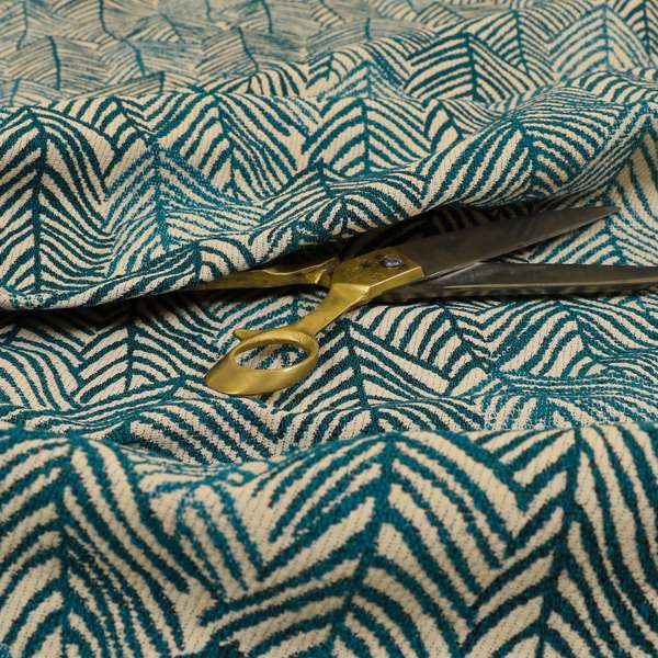 Piccadilly Collection Leaf Floral Pattern Woven Upholstery Teal Chenille Fabric JO-530