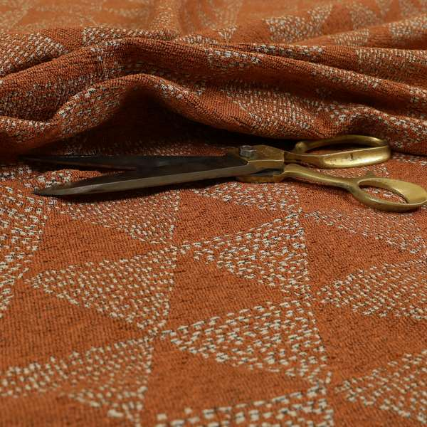 Piccadilly Collection Geometric Triangle Pattern Woven Upholstery Orange Chenille Fabric JO-533