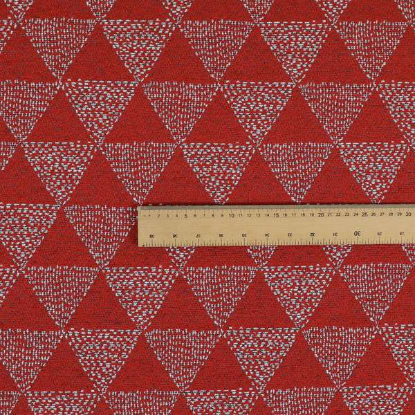 Piccadilly Collection Geometric Triangle Pattern Woven Upholstery Red Chenille Fabric JO-534