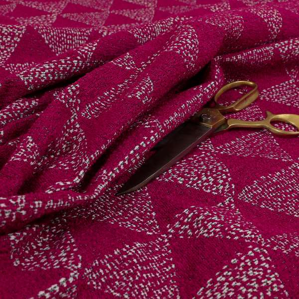 Piccadilly Collection Geometric Triangle Pattern Woven Upholstery Pink Chenille Fabric JO-535