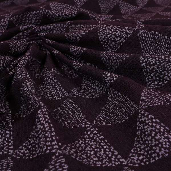 Piccadilly Collection Geometric Triangle Pattern Woven Upholstery Purple Chenille Fabric JO-536