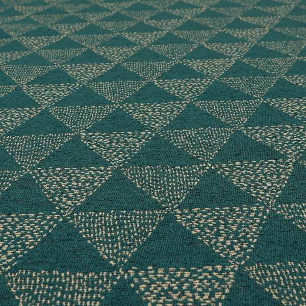 Piccadilly Collection Geometric Triangle Pattern Woven Upholstery Teal Chenille Fabric JO-537