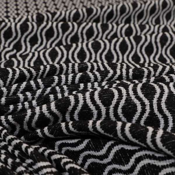 Piccadilly Collection Eclipse Pattern Woven Upholstery Black Chenille Fabric JO-556