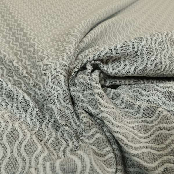 Piccadilly Collection Eclipse Pattern Woven Upholstery Silver Grey Chenille Fabric JO-557