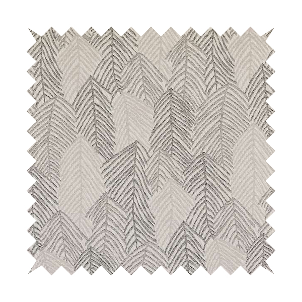 Piccadilly Collection Leaf Floral Pattern Woven Upholstery Silver Grey Chenille Fabric JO-560