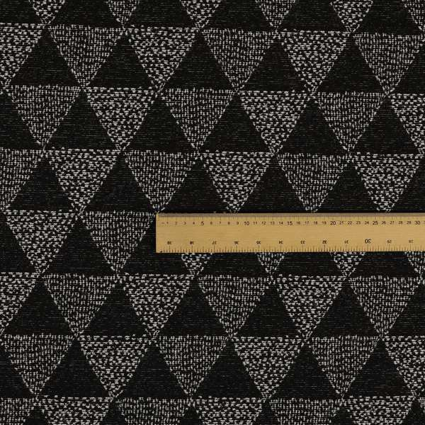 Piccadilly Collection Geometric Triangle Pattern Woven Upholstery Black Chenille Fabric JO-561