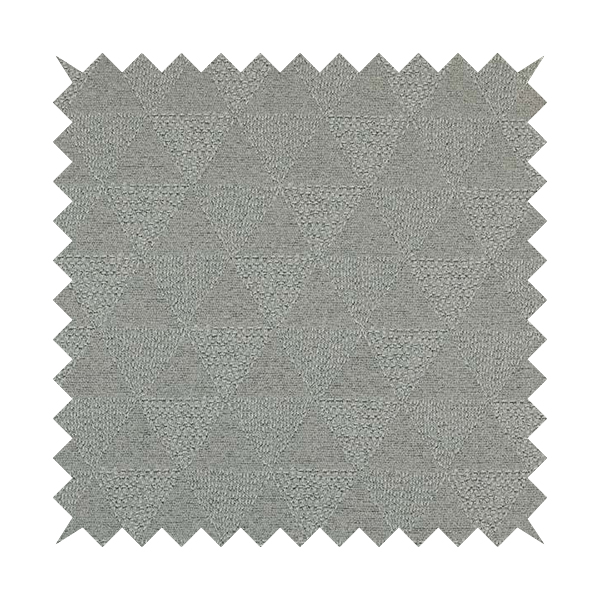 Piccadilly Collection Geometric Triangle Pattern Woven Upholstery Silver Grey Chenille Fabric JO-562