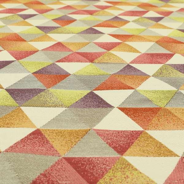 Le Triangle Collection Soft Feel Geometric Diamond Pattern Purple Raspberry Colour Chenille Upholstery Fabric JO-58
