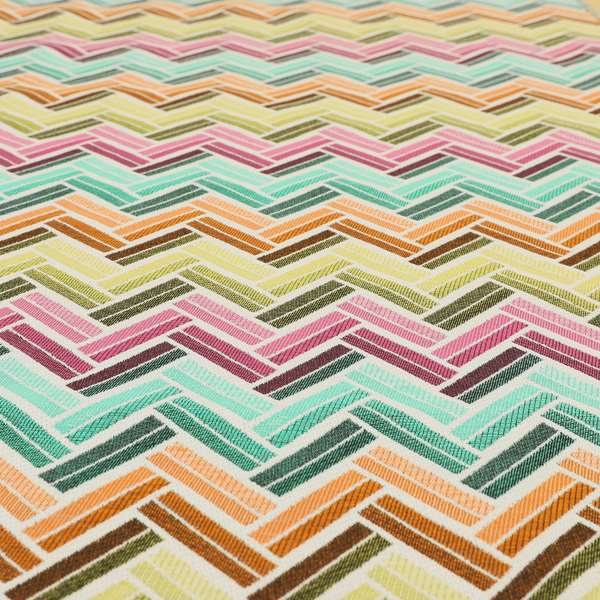 Carnival Living Fabric Collection Multi Colour Chevron Striped Pattern Upholstery Curtains Fabric JO-593