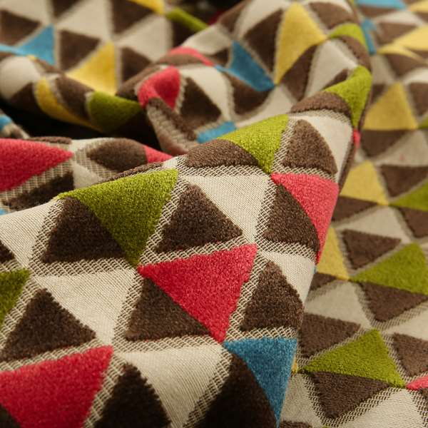Ziani Geometric Le Triangle Pattern In Vibrant Green Pink Yellow Brown Blue Colour Velvet Upholstery Fabric JO-63