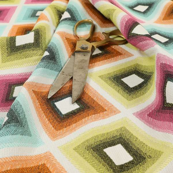 Carnival Living Fabric Collection Multi Colour Geometric Large Cube Pattern Upholstery Curtains Fabric JO-630