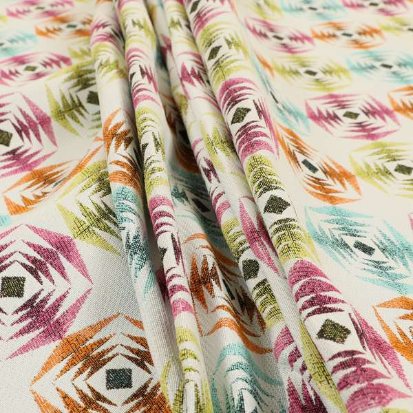 Carnival Living Fabric Collection Multi Colour Sharp Geometric Pattern Upholstery Curtains Fabric JO-635