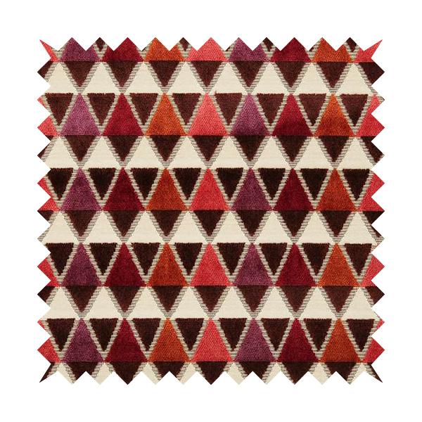 Ziani Geometric Le Triangle Pattern In Vibrant Orange Pink Purple Colour Velvet Upholstery Fabric JO-64