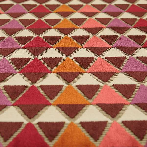 Ziani Geometric Le Triangle Pattern In Vibrant Orange Pink Purple Colour Velvet Upholstery Fabric JO-64