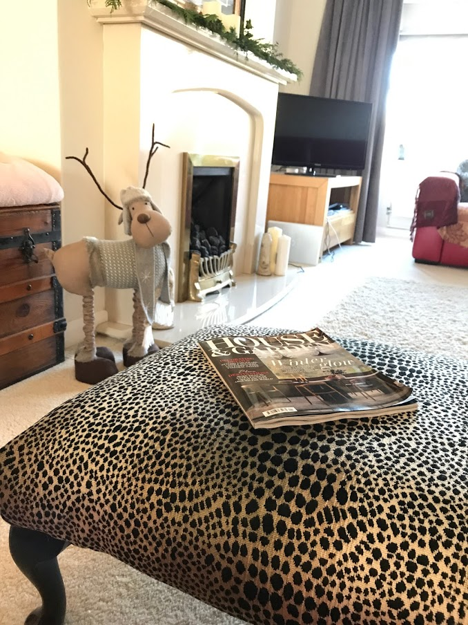 Susan Upholstered A Footstool Using JO647 Velvet Fabric