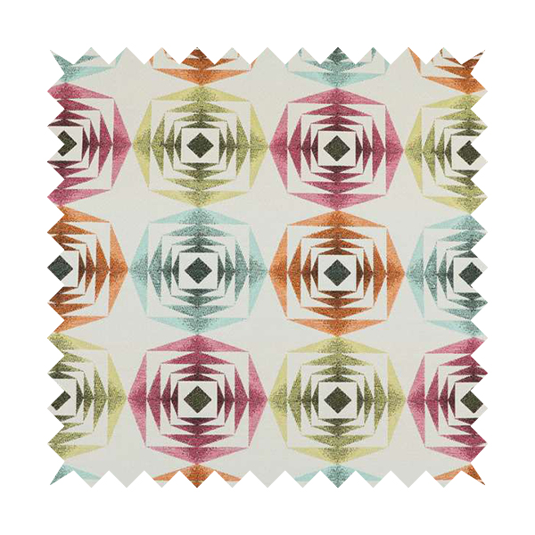 Carnival Living Fabric Collection Multi Colour Large Sharp Geometric Pattern Upholstery Curtains Fabric JO-651