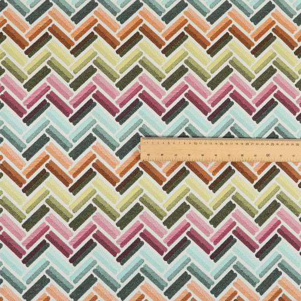 Carnival Living Fabric Collection Multi Colour Chevron Striped Pattern Upholstery Curtains Fabric JO-653