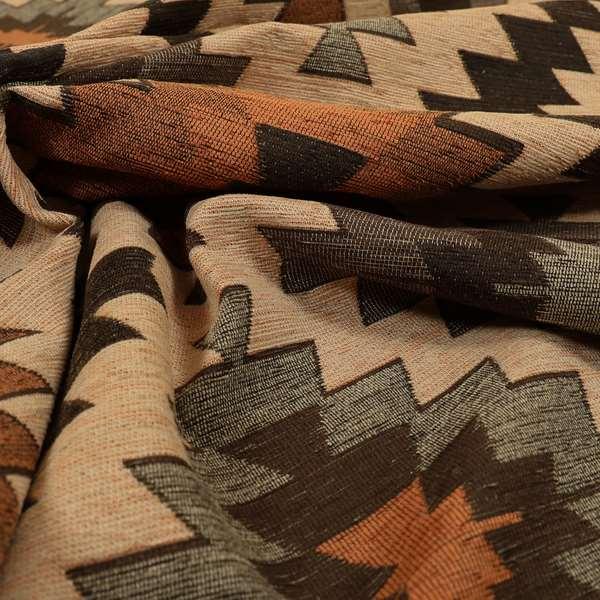 Mirador Aztec Designer Pattern In Orange Colour Chenille Fabrics JO-656